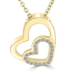 9bdd0451792d 0.12 Carat F-SI Diamond Double Heart Pendant Necklace in 14k Yellow Gold