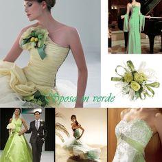 Collage de vestidos de novia verdes