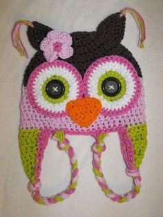crochet owl hat baby hat crochet kids hat by VioletandSassafras
