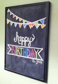 Ideas For Happy Birthday Font Letters Chalkboard Art Chalkboard Doodles, Chalkboard Writing, Kitchen Chalkboard, Wall Writing, Chalkboard Drawings, Chalkboard Lettering, Chalkboard Designs, Diy Chalkboard, Chalkboard Border