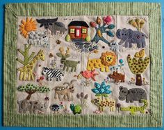 Danielle Therrien's 'Folk-tails' quilt made for her grandson Benjamin. She used the animals from Sue's Folk-tails quilt and made it into a wall hanging for his wall! #suespargo #creativestitching #creativetexturing #embroidery #embellishment #embroideryart #folktails