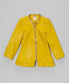 Love this Yellow Peplum Faux Leather Jacket - Toddler & Girls on #zulily! #zulilyfinds