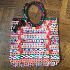 """Woven bag Gorgeous and one of a kind! A textile dream! Stipe and flower motif and fully lined with Velcro closure. Sourced and handmade in Mexico City by a woman owned business. Perfect and super roomy! 18.5"""" W X 18"""" L X 3"""" D. Handle drop is 9.5"""". Costume Baldor Bags Shoulder Bags"""