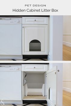 DIY tutorial on how to create a concealed cat litter box within a kitchen cabinet. Article includes advice on kitty litter, accessories and odor control. Hidden Laundry Rooms, Hidden Closet, Pantry Laundry Room, Laundry Room Layouts, Hidden Kitchen, Laundry Room Design, Hiding Cat Litter Box, Hidden Litter Boxes, Diy Litter Box
