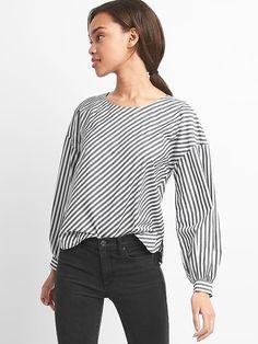 Stripe button-back top