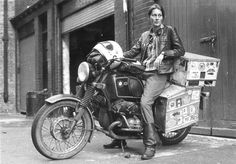 Elspeth Beard, shortly after becoming first Englishwoman to circumnavigate the world by motorcycle. The journey took 3 years and covered 48,000 miles