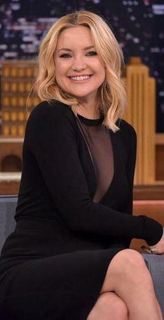 Who made Kate Hudson's black mesh long sleeve dress?