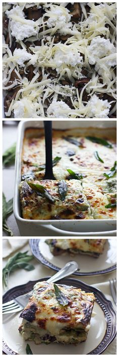 Triple Mushroom Lasagna with Ricotta, Sage and Fontina - Literally the most delicious lasagna you'll ever taste...