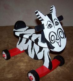 Toddler Ride On Toy Zebra Hand Painted by WallaceWhimsies on Etsy, $45.00