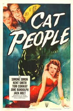Cat People (1942) - Simone Simon - interesting 'B movie'!  Black and white film noir feeling with a touch of supernatural