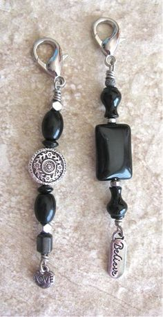 Purse charms with black agates and silver bead accents and dangles 3 inches long $10 each.