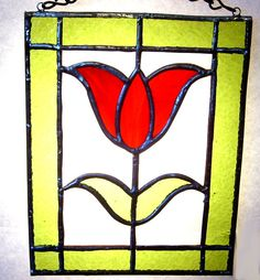 Handcrafted Stained Glass Suncatcher Red Tulip by rparishwoodworks
