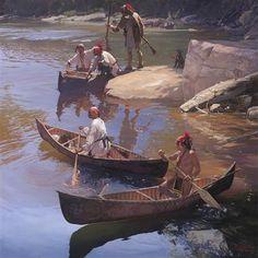 Image 3 - A painting showing similar birch bark canoes (c) John Buxton