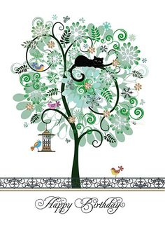 Pattern Tree by Jane Crowther. Bug Art greeting cards.