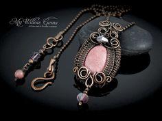 Alana, Wire Wrapped Jewelry, Rhodonite Necklace with Swarovski accents
