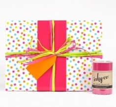 Inky Co hot pink gloss wrapping paper