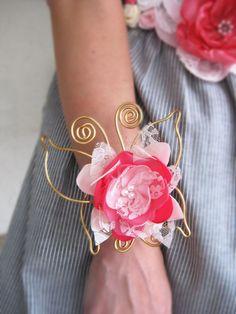 Wrist Corsage. Butterfly Pink Flower Wrist Corsage. Wedding Accessory. Flower Girl Wrist Corsage. TT team. $29.95, via Etsy.