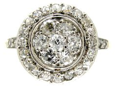 Art Deco Diamond Cluster Ring - The Antique Jewellery Company