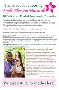 Apple Blossom Naturals - 100% Natural, Fresh & Handmade Cosmetics / Personal Care Products Consultant Opportunities Available: www.appleblossomnaturals.com Find us on Facebook! www.facebook.com/appleblossomnaturals.com