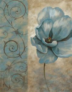 Vivian Flasch Fleur Bleue II painting is shipped worldwide,including stretched canvas and framed art.This Vivian Flasch Fleur Bleue II painting is available at custom size. Vintage Flowers, Blue Flowers, Decoupage Paper, Paper Background, Painting & Drawing, Flower Art, Canvas Wall Art, Art Prints, Drawings