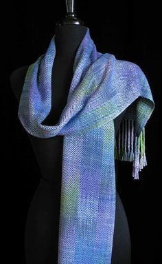 Handwoven Scarf Hand Dyed Bamboo Scarf  Reflecting by FiberFusion