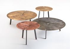 De Castelli - Placas low table series. Available in acid etched iron, copper or brass