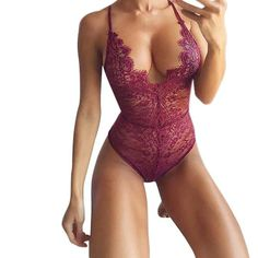 2018 Hot Deep V Neck Sexy Bodysuit Solid Mesh Lace Bodysuit Women Bodycon Catsuit Body feminino overalls Leotard Summer Playsuit Sexy Lingerie, Pretty Lingerie, Lingerie Sleepwear, Lingerie Models, Womens Bodysuit, Lace Bodysuit, Catsuit, Corset Sexy, Bodycon