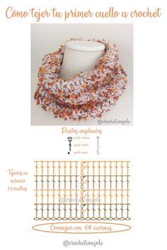 Patrón con diagrama y video tutorial para tejer tu primer cuello a crochet y quede perfecto. Freeform Crochet, Crochet Shawl, Crochet Stitches, Crochet Top, Crochet Designs, Crochet Patterns, Crochet Neck Warmer, Crochet Scarves, Crochet Necklace