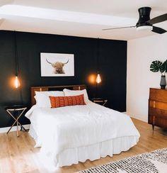 Highland Cow Print Printable Wall Art Farmhouse Decor | Etsy Bedroom Black, Dream Bedroom, Home Decor Bedroom, Dark Master Bedroom, Bedroom Ideas, Black Accent Walls, Accent Wall Bedroom, My New Room, Decoration