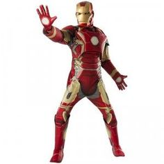 """Now adults can also say, """"I am Iron Man!"""" on Halloween with the Avengers: Age of Ultron Iron Man Adult Costume. This comes with an Iron Man mask and a padded jumpsuit with armor and attached boot tops. Costumes Avengers, Superhero Costumes For Men, Iron Man Superhero, Thor Costume, Superhero Halloween, Adult Halloween, Halloween 2015, Halloween Parties, Iron Man Halloween Costume"""