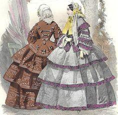 1860 Print Color Plate Victorian Fashion Promenade Dresses Mode Paris Civil War | eBay