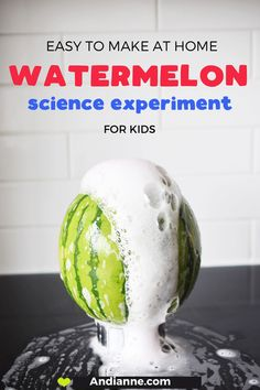 Watermelon baking soda volcano science experiment for kids. Easy science project using vinegar. Great for toddlers, kindergarten and preschoolers. Baking soda and vinegar science experiment. Science Activities For Kids, Easy Science, Preschool Science, Science Experiments Kids, Science Lessons, Sensory Activities, Toddler Preschool, Learning Activities, Preschool Activities
