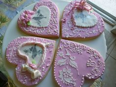 Sugar cookies using stencil and rubber stamp