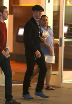 Benedict Cumberbatch left a showing of 'The Wolf of Wall Street' with a male friend in CA.