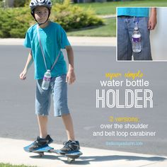 water-bottle-holder-o-ring-DIY-easy - really neat idea for everyone carrying their own!