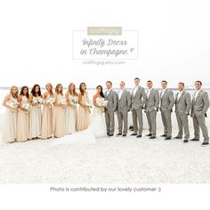 Bridesmaid Dress Infinity Dress Champagne Floor Length Wrap Convertible Dress Wedding Dress - with groomsmen in gray!