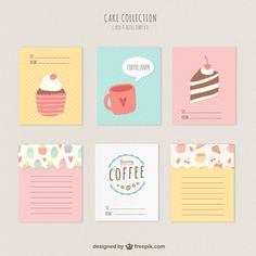 Cute cakes and coffee cards Free download