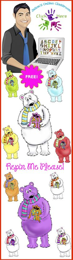 FREE - PLEASE REPIN ME! :)      File includes a custom drawn polar bear in various colors by Jeanette Baker. Each image includes a PNG version with a transparent background as well as a JPEG version with a white background and also a black/white outline version.  We love nice comments/feedback.  Enjoy!