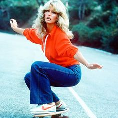 #TBT: #FarrahFawcett hitting the pavement in #Nikes and some classic #jeans | Look out for more denim inspiration from the past & present, coming to the site . #RackedDenim