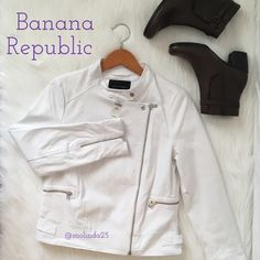 Banana Republic White Jacket 100% Authentic Banana Republic Jacket. Color: White with silver hardware. Fabric: Shell 97% Cotton 3% Spandex/Elastane Body lining: 100% Polyester Sleeve: 100% AcetateMachine Wash cold gentle cycle. No trades or PP. MSRP: $109.99 PETITE SIZE MEDIUM Banana Republic Jackets & Coats