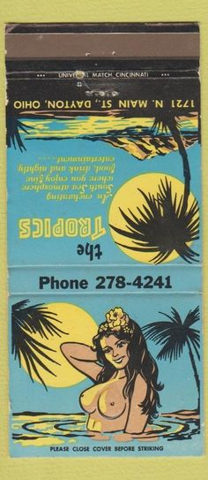 The Tropic Dayton OH #tiki #matchbook To design & order your business' logo #matches GoTo GetMatches.com