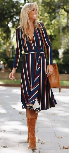 trendy fall outfit | stripped dress + bag + high boots