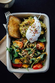 Avo smash, toast and poached egg for breakfast at the Green Queen.