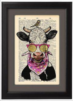 Kuh lustig drucken Kuh im Lande Urlaub Buchseite von Natalprint