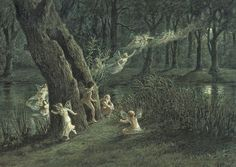 Woodland Fairies in the Moonlight by A.W. Crawford