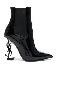 Image 1 of Saint Laurent Patent Opium Monogram Heeled Boots in Black & Black Black Patent Leather Shoes, Black Heel Boots, High Heel Boots, Black Shoes, Heeled Boots, Bootie Boots, High Heels, Ysl Boots, Balenciaga Boots