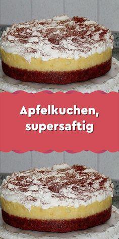 Apple pie super juicy- Apfelkuchen supersaftig Ingredients 150 g butter or margarine 125 g sugar 5 g … - Nutella, Banana Cream Cheesecake, Dessert Blog, Food Cakes, Macaron, Fun Desserts, Apple Pie, Cake Recipes, Food And Drink