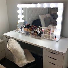 SUPER SALE-XL Hollywood vanity mirror- makeup mirror with lights- Perfect for Ikea Malm vanity -Bulbs not included Vanity Makeup Rooms, Makeup Table Vanity, Vanity Room, Makeup Vanities, Ikea Vanity Table, Mirror Room, Hollywood Style Mirror, Hollywood Vanity Mirror, Hollywood Lights