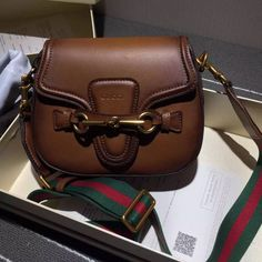 457ea5382926 Gucci Lady Web Hand-stained Leather Small Medium Shoulder Bag 380573 Brown  2015 Gucci