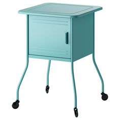 IKEA VETTRE Bedside table Turquoise cm Inside there is room for an extension socket for your chargers. Table Turquoise, Turquoise Furniture, Ikea Bedroom, Home Bedroom, Bedroom Sets, Bedroom Apartment, Apartment Therapy, Bedside Table Ikea, Dorm Rooms Decorating